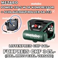 Metabo Power 180-5 W OF Kompressor inkl. Schlauchaufroller SA 312
